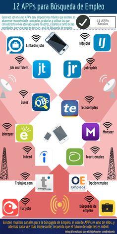 12 APPs para búsqueda de empleo #infografia #infographic #empleo