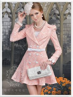 FREE SHIPPING The pink daisy embroidery Slim lapel double breasted flounced long coat 452 995-in Trench from Apparel & Accessories on Aliexpress.com