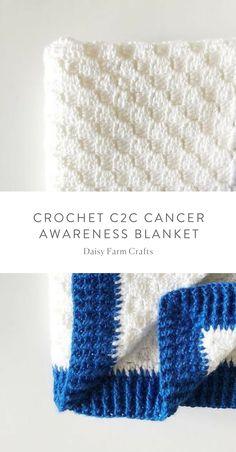 Free Pattern - Crochet C2C Cancer Awareness Blanket #crochet