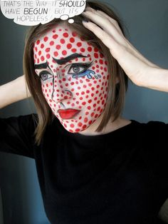 The Spooky Scary Daily Face - October 18, 2011 - The Roy Lichtenstein Painting face: Ben Nye Creme Color in White dots: Ben Nye Creme Color in Red tears: Ben Nye Creme Color in Blue, Cosmic Blue, and...