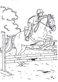 springreiten mit reiter - malvorlage | pferde springen