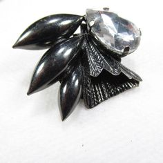 Vintage 1950's blackened metal clear acrylic by jewelry715 on Etsy, $10.00