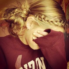 braid and side messy bun