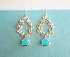 Turquoise Gold Dangle Earrings Laurel Wreath Twine Branch Leaves Aquamarine Glass Drop Dangling Wedding Earrings Bridal Jewelry Blue Mint Bridesmaids Gift