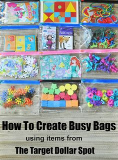 12 Busy Bags made from items from the Target Dollar Spot and stored in a binder. #busybags #busybagsbinder