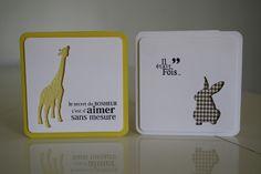 scrapbooking carte jaune girafe marron lapin