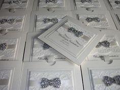 Handmade Wedding Invitation The Vintage Bow sample with choice of ribbon colours   eBay