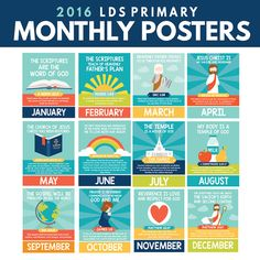 2016 LDS Primary Monthly Posters! These are DARLING! Monthly scripture and theme!