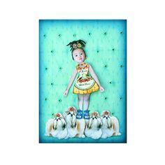 dog collage shih tzu girl child blue green tagt team by PetCollage, $25.00