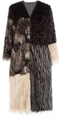 ANNA SUI Mixed-Media Faux Fur Coat