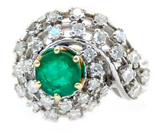 Vintage Natural Emerald Swirl Ring w/ 1cttw Diamond Ring in 14k White Gold