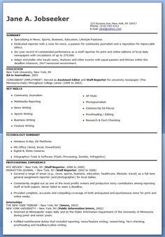 Journalist Resume Sample   Resume, Templates and London