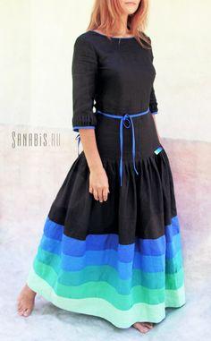"""Длинное льняное платье """"Мятное деграде"""" ~ Sanabis.ru"""