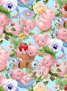 This Little Pig - Blossom Babies - Sky Blue 'This Little Pig' collection by Ami! Morehead for Elizabeth's Studio.