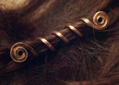 GNH Pair of Viking hair beads Spiral hair coils by LoitsuCrafts