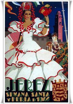 Cartel anunciador de la Feria de Jerez de la Frontera de 1946. Bellísimo.