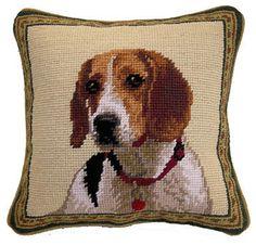 """Beagle Hound Dog Portrait - 10"""" Needlepoint Dog Pillow"""