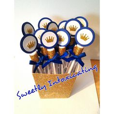 12 Royal Prince blue and gold glitter crown bubbles with satin bow. Prince theme, 1st birthday, baby shower, party favor or decor.