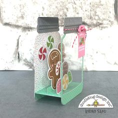 During the holidays, I like to bake for my neighbors and close friends, but time doesn't always allow me to bake as much as I'd like! Mason Jar Cards, Mason Jar Diy, Jam Jar Crafts, Jar Design, Jar Art, Pots, Shaped Cards, Fancy Fold Cards, Christen