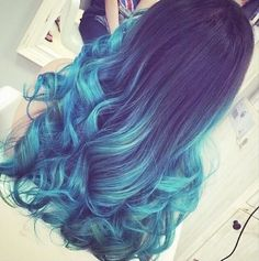Turquoise highlights long curly hair - Google Search