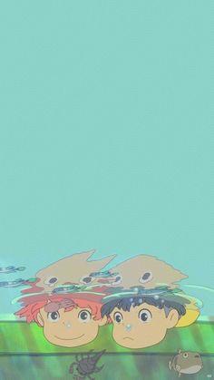 Studio Ghibli's Ponyo wallpaper Art Studio Ghibli, Studio Ghibli Films, Studio Ghibli Quotes, Studio Ghibli Characters, Cartoon Wallpaper, Cute Anime Wallpaper, Iphone Wallpaper, Wallpaper Studio, Wallpaper Art