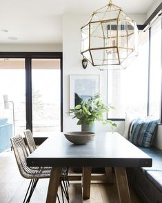 Kitchen Interior Design Shop Morris Lantern and more - Tour the Living Room of our Calabasas Remodel! Dining Nook, Dining Room Design, Kitchen Design, Dining Chairs, Built In Dining Room Seating, Nook Table, Dining Table, Dining Sets, Kitchen Chairs