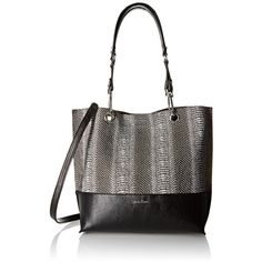 Calvin Klein Reversible-N/S Novelty Tote Bag (1.610 ARS) ❤ liked on Polyvore featuring bags, handbags, tote bags, reversible tote, white purse, white handbags, calvin klein and calvin klein purse