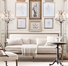 Add centre chandelier on formal living room. Linen sofa, have multiple paintings on wall. Ivory Living Room, Living Room Decor, Living Spaces, Living Rooms, Glamour Décor, White Rooms, White Walls, Inspired Homes, Home Interior