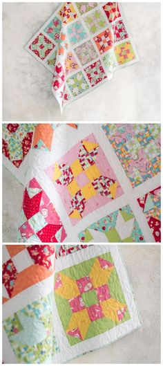 Hot Dish Quilt kit by Craftsy. This delightful project is created with the same repeating block. But, the fabric placement gives this finished quilt a fresh, fun feeling. You'll love the kitchen themed prints from Lily & Loom's Stir Crazy collection. Your quilt kit comes complete with a paper pattern and all of the fabrics you'll need to complete the quilt top and binding. affiliate link.
