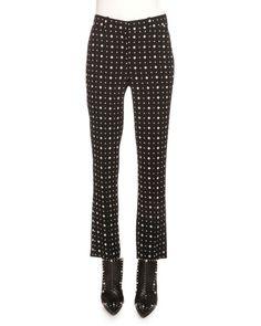 GIVENCHY Printed Cady Straight-Leg Cropped Pants, Black. #givenchy #cloth #