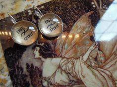 FREE SPIRIT, Crystal ball glass earrings, word earrings, Gypsy, Boho, Urban Chic, Leverback , Hippie, Flower Child, Rebel, Poet, Artist, $17.00