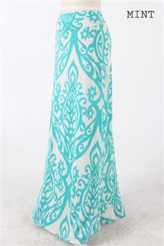 Mint Damask Maxi Skirt