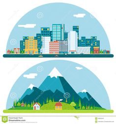 Buy Spring Urban and Countryside Landscape by Meilun on GraphicRiver. Spring Urban Countryside Landscape City Village Real Estate Summer Day Background Flat Design Concept Icon Template V. City Illustration, Landscape Illustration, Countryside Landscape, Urban City, Free Vector Art, Vector Graphics, Flat Design, Ui Design, Graphic Design