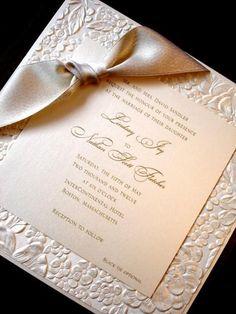 wedding invitation elegant high end embossed silver unique beautiful handmade: