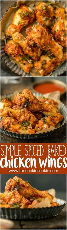 Simple Spiced Baked Chicken Wings are rubbed with simply paprika, garlic, and salt and pepper. THESE ARE SO DELICIOUS! This easy recipe is perfect with any dipping sauce. Crispy Oven Baked Wings do exist!