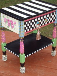 Hand Painted Vintage Accent Table ♥ by paintingbymichele on Etsy