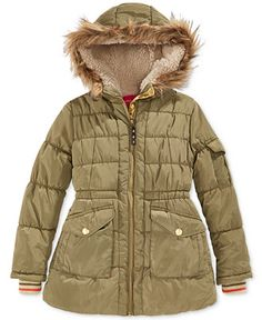 London Fog Girls' Stadium Puffer Coat with Faux Fur Trim - Kids & Baby - Macy's