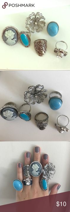 Assorted Fashion Rings A set of 6 assorted rings ranging from size 5-adjustable. Great pieces to spice up any outfit. I am a size 5-7 and all of these rings fit on at least one finger. Happy Poshing! 😁                                                             ❌trades                                                                    ❌PayPal                                                                          ✅ reasonable offers (using offer feature) Jewelry Rings