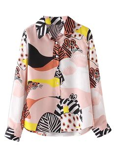 Multicolor Animal Print Long Sleeve Shirt