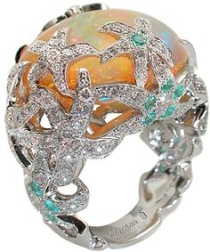 Océane ring White gold Diamonds Wollo opals Paraiba tourmalines