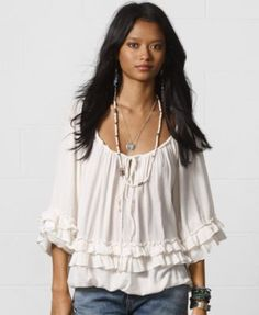 Designed with tiered ruffles, Denim & Supply Ralph Lauren's breezy cotton-blend peasant top features a bohemian-inspired print and can be worn on or off the shoulders.   Cotton/viscose   Hand wash   I