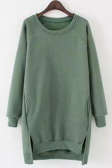 Side Slit Pocket Design Long Sweatshirt