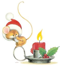 sweet little Christmas mouse - I love him! Christmas Clipart, Noel Christmas, Christmas Candles, Christmas Animals, Vintage Christmas Cards, Christmas Printables, Christmas Pictures, Vintage Cards, Winter Christmas