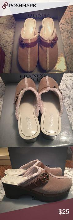 Franco Sarto suede clog Franco Sarto light tan platform clog . 1 inch platform, 3 inch heel. Size 9 . Excellent condition , in box Franco Sarto Shoes Mules & Clogs