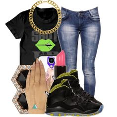 A fashion look from March 2014 featuring Boohoo jeans, Wet Seal jewelry and Monique Péan earrings. Browse and shop related looks.