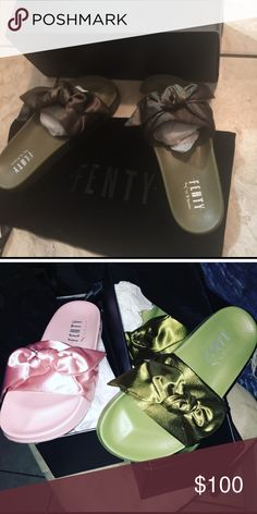 2d918cc0a241a2 Puma slides Brand new size 8 with dust bag order today ship out tomorrow  green only not the pink one yes real Puma Shoes Slippers