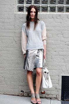 love the Metallic leather skirt