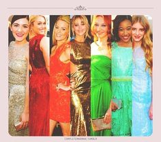 From left to right, Isabelle Fuhrman, Leven Rambin, Elizabeth Banks, Jennifer Lawrence, Jackie Emerson, Amandla Stenberg, Willow Shields :3