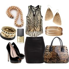 """Animal print blouse and black skirt outfit"" by esperanzandrea on Polyvore"