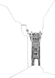 Architectural Drawings Behind Empty Building Silhouettes - Architectural Drawings Behind Empty Building Silhouettes – Fubiz Media - Love Drawings, Drawing Sketches, Pencil Drawings, Drawing Ideas, Croquis Architecture, Theater Architecture, Architecture Panel, Architecture Portfolio, Architecture Design